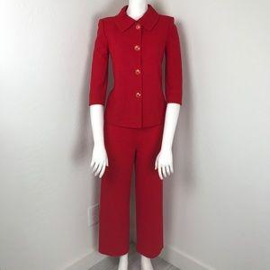 St John Collection Red Knit Jacket Pant Set